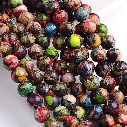 Dyed & Heated Natural Imperial Jasper Round Bead Strands G-M274-06-8mm-1