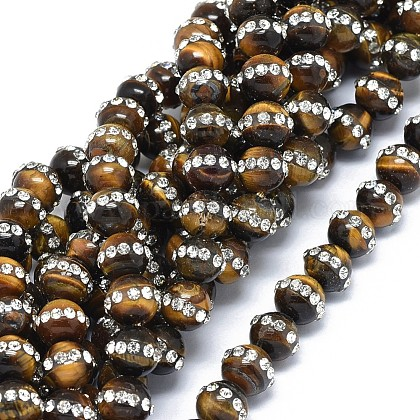 Natural Tiger Eye Beads Strands G-F604-12-8mm-1