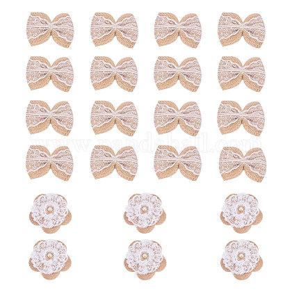 Accesorios para el cabello de encaje de bowknot y accesorios de disfraces tejidos con cordón de cáñamo hechos a manoPH-DIY-G005-70-1