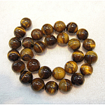 Natural Tiger Eye Beads Strands, Round, Grade B, 8mm, Hole: 1mm, about 50pcs/strand