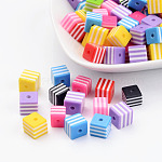 Resin Beads, Cube with Stripe Pattern, Mixed Color, about 8mm long, 8mm wide, 8mm thick, hole: 1.5mm