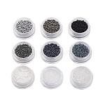 1 libra 9 de color mezclado 12/0 grano una granos de vidrio de la semilla, negro, 2x1.5mm, agujero: 0.9 mm; aproximamente 50 g / bolsa