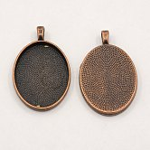 Alloy Pendant Cabochon Settings, Plain Edge Bezel Cups, DIY Findings for Jewelry Making, Red Copper, 39x25x3mm, Hole: 4mm; tray: 30x22mm