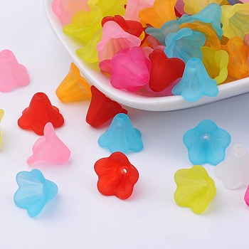 Translucent Acrylic Beads, Frosted Style, Flower Bead Caps, For Bracelet Necklace Jewelry, Mixed Color, 14x10mm, Hole: 2mm, about 1300pcs/500g