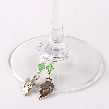 LightGreen Tibetan Style Heart with Love Wine Glass Charms, with Glass Beads, Iron Beads and Brass Hoop Earrings, For Valentine's Day, Antique Silver, LightGreen, 63mm; Pin: 0.7mm