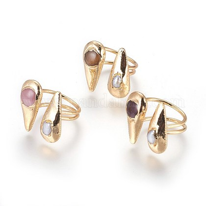Long-Lasting Plated Cat Eye Cuff Finger Rings RJEW-E156-13G-1