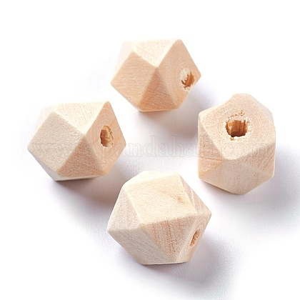 Faceted Unfinished Wood BeadsWOOD-WH0014-01-A-1