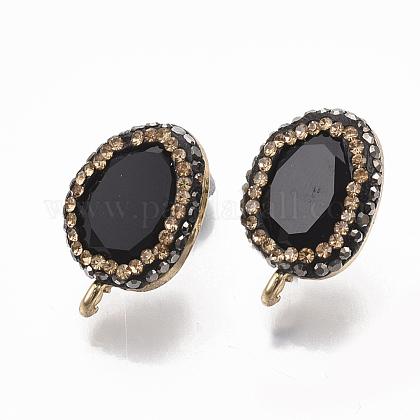 Fornituras de aretes de cristal negroEJEW-T006-01-1