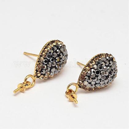 Teardrop Brass Stud Earring FindingsMAK-M024-05A-1