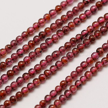 Grade AA Natural Gemstone Garnet Round Beads StrandsX-G-A130-2mm-31-1