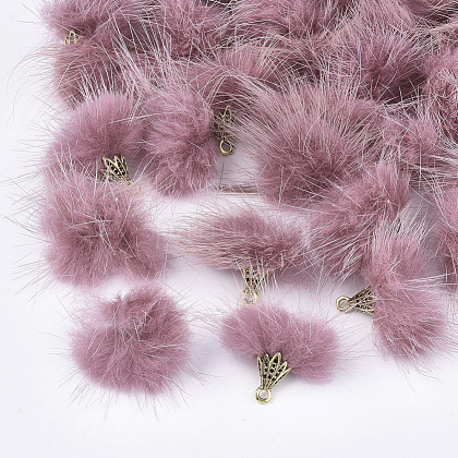 Decoraciones colgantes de borla de piel de visón falsoX-FIND-S300-37R-1
