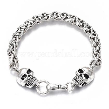 Men's Alloy Wheat Chain BraceletsX-BJEW-T014-05AS-1